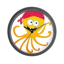Happy Pirate Octopus Wall Clock
