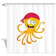 Happy Pirate Octopus Shower Curtain