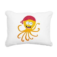 Happy Pirate Octopus Rectangular Canvas Pillow