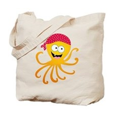 Happy Pirate Octopus Tote Bag