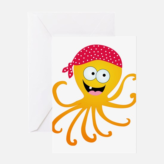 Happy Pirate Octopus Greeting Card