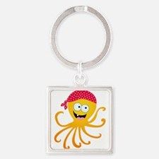 Happy Pirate Octopus Square Keychain