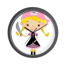 Pirate Girl w/ Sword Wall Clock