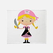 Pirate Girl w/ Sword Throw Blanket