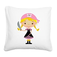 Pirate Girl w/ Sword Square Canvas Pillow
