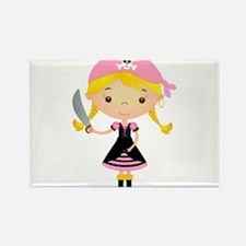 Pirate Girl w/ Sword Rectangle Magnet