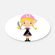Pirate Girl w/ Sword Oval Car Magnet