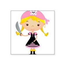"Pirate Girl w/ Sword Square Sticker 3"" x 3"""