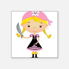 "Pirate Girl w/ Sword Square Sticker 3"" x 3"""