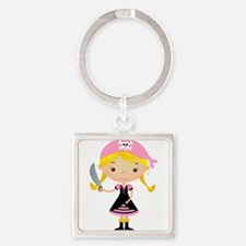 Pirate Girl w/ Sword Square Keychain