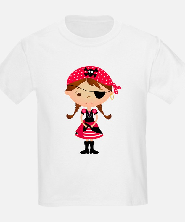 Pirate Girl in Red T-Shirt