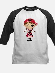 Pirate Girl in Red Kids Baseball Jersey