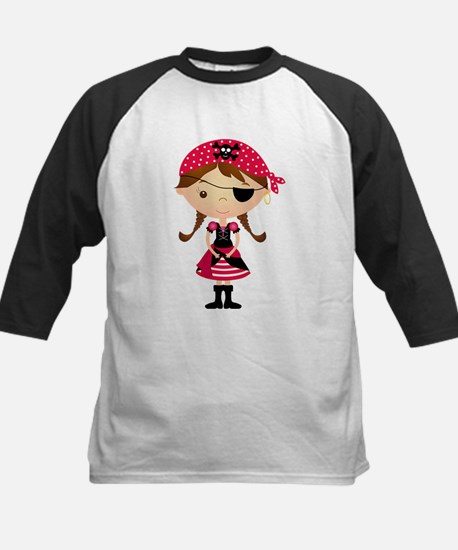 Pirate Girl in Red Kids Baseball Jersey