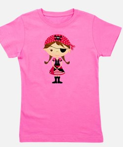 Pirate Girl in Red Girl's Tee