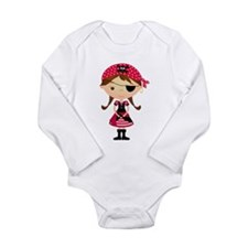 Pirate Girl in Red Onesie Romper Suit