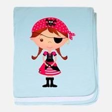 Pirate Girl in Red baby blanket