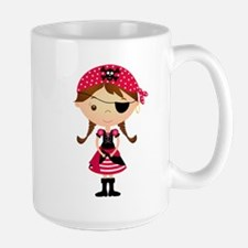 Pirate Girl in Red Large Mug