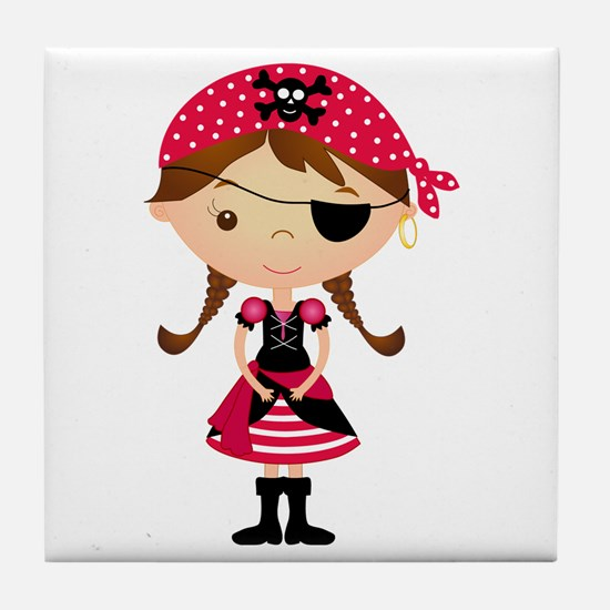 Pirate Girl in Red Tile Coaster