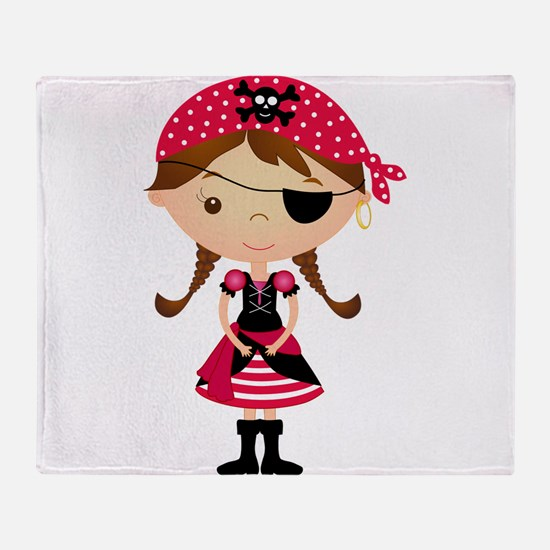 Pirate Girl in Red Throw Blanket