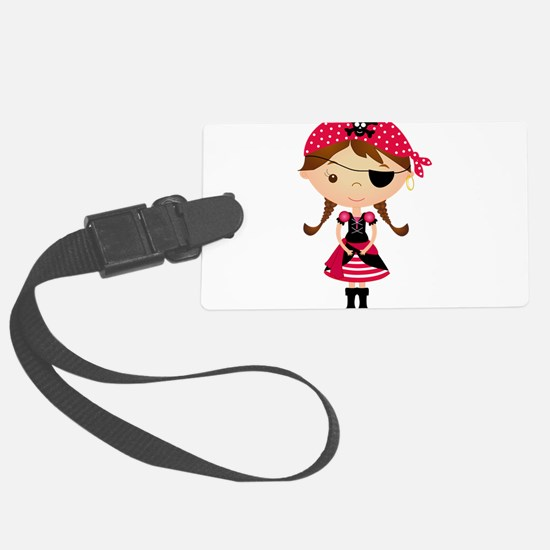Pirate Girl in Red Luggage Tag