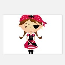 Pirate Girl in Red Postcards (Package of 8)