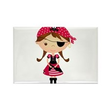 Pirate Girl in Red Rectangle Magnet