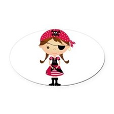 Pirate Girl in Red Oval Car Magnet