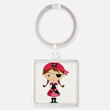 Pirate Girl in Red Square Keychain