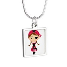 Pirate Girl in Red Silver Square Necklace
