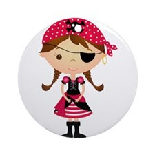 Pirate Girl in Red Ornament (Round)