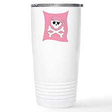 Pink Skull & Crossbones Pirate Flag Travel Mug
