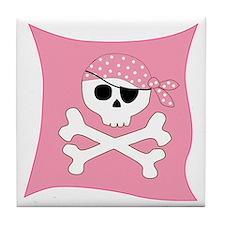 Pink Skull & Crossbones Pirate Flag Tile Coaster