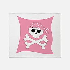 Pink Skull & Crossbones Pirate Flag Throw Blanket