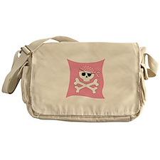 Pink Skull & Crossbones Pirate Flag Messenger Bag