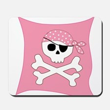 Pink Skull & Crossbones Pirate Flag Mousepad