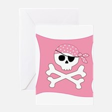 Pink Skull & Crossbones Pirate Flag Greeting Card