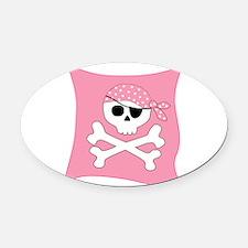 Pink Skull & Crossbones Pirate Flag Oval Car Magne
