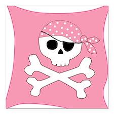 Pink Skull & Crossbones Pirate Flag Square Car Mag