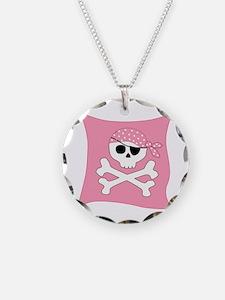 Pink Skull & Crossbones Pirate Flag Necklace