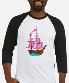 Pink Pirate Ship Baseball Jersey