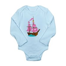 Pink Pirate Ship Long Sleeve Infant Bodysuit