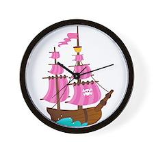 Pink Pirate Ship Wall Clock
