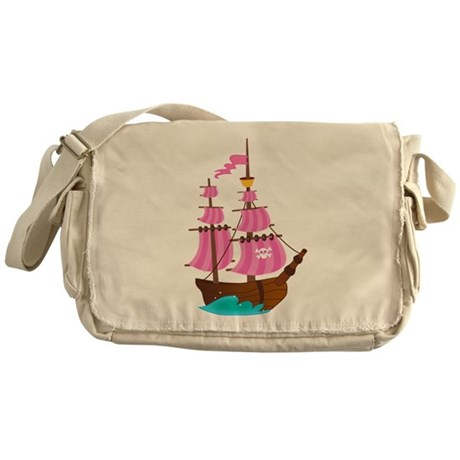 Pink Pirate Ship Messenger Bag