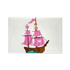 Pink Pirate Ship Rectangle Magnet