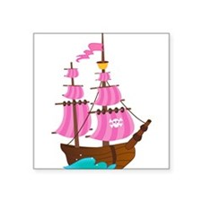 "Pink Pirate Ship Square Sticker 3"" x 3"""