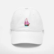 Pink Pirate Ship Baseball Baseball Cap
