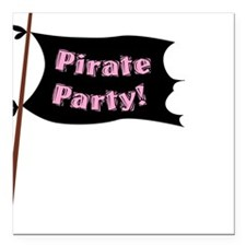 """Pirate Party Flag Square Car Magnet 3"""" x 3"""""""