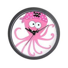 Pink Pirate Octopus Wall Clock