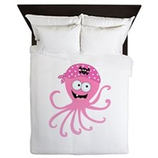 Pink Pirate Octopus Queen Duvet
