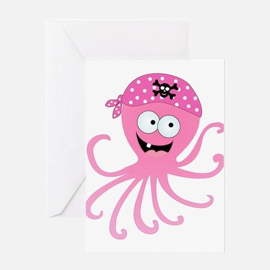 Pink Pirate Octopus Greeting Card